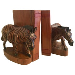 Pair of Hand-Carved Zebra Bookends from Kenya