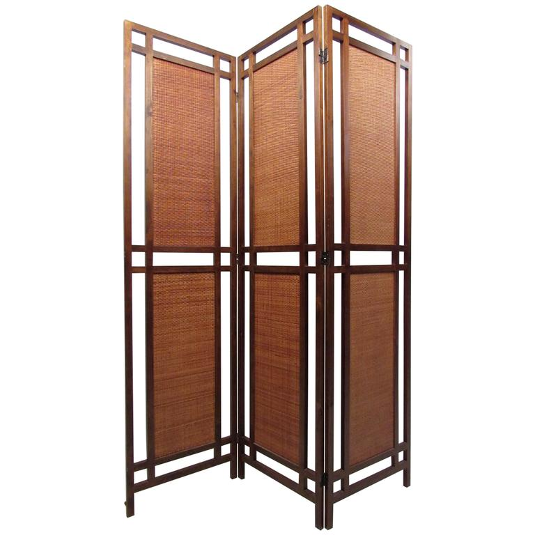 Large Mid Century Modern Painted Room Divider Three Panel Screen For