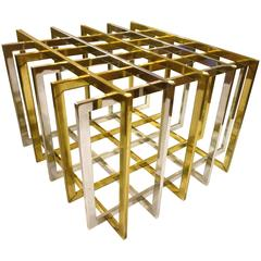 1970s Chrome and Brass Square Coffee Table Base by Pierre Cardin