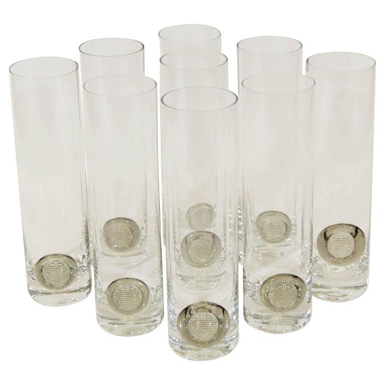 """Rosenthal """"Shou"""" Medallion Crystal Beer Glasses For Sale"""