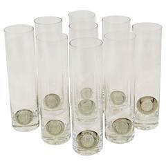 """Rosenthal """"Shou"""" Medallion Crystal Beer Glasses"""