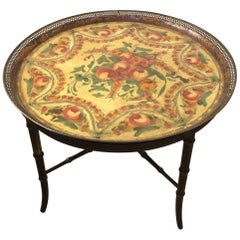 Charming Painted Tole Tray Side Table