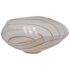 Dino Martens Mezza Filigrana Murano Glass Triangular Bowl