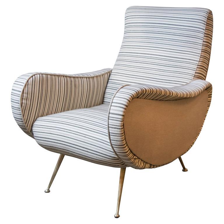Mid-Century Italian Poltrona Marco Zanuso Chair at 1stdibs