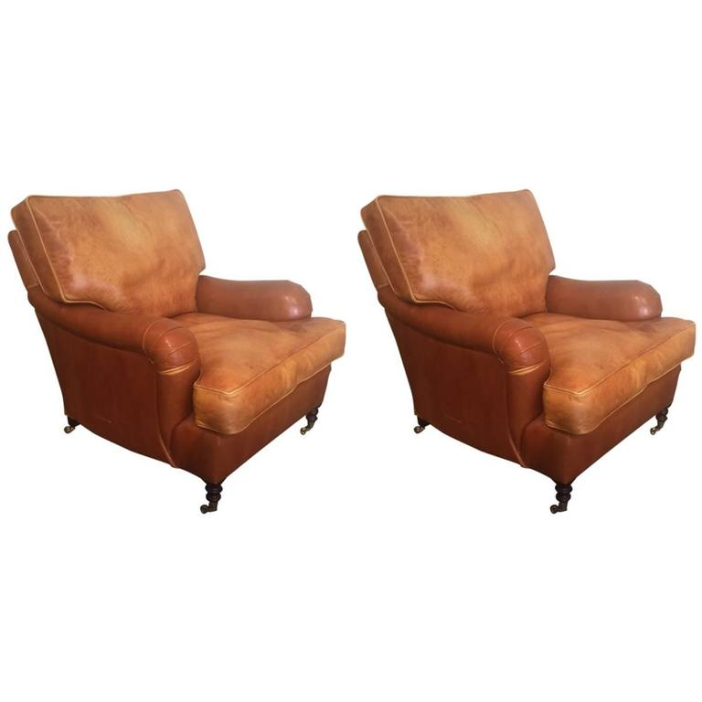 Delightful Pair Of Distressed Leather Club Chairs By George Smith 1