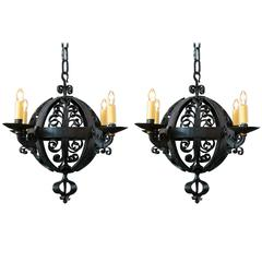 Pair of Black Spanish Hand-Forged Iron Globe Chandeliers circa 1960