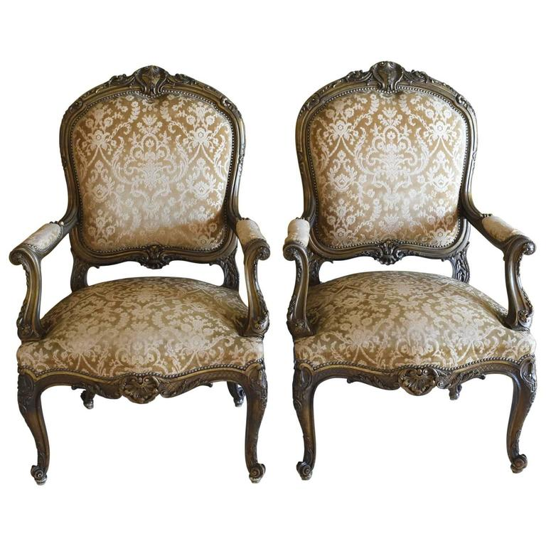 Pair of 19th Century Early Belle Époque French Fauteuils in the Louis XV Style
