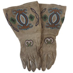 19th Century Native American Beaded Gloves, likely for a woman.
