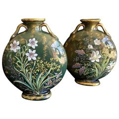 Pair of Vallauris Pottery Moon-Flask Vases, circa 1880