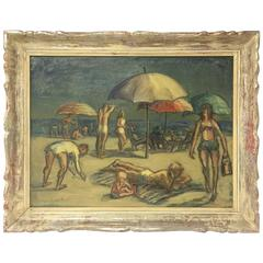 New Jersey Beach Scene Oil on Canvas Painting Signed Imfof, Modern Period Frame