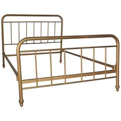 Antique Gilt Metal Double Bed
