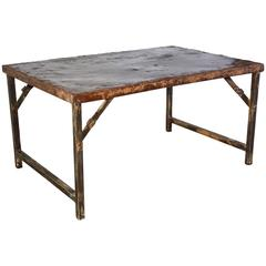 Antique Folding Iron Coffee Table