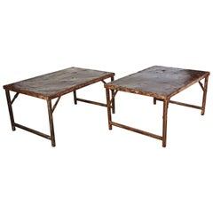 Antique Industrial Folding Iron Tables