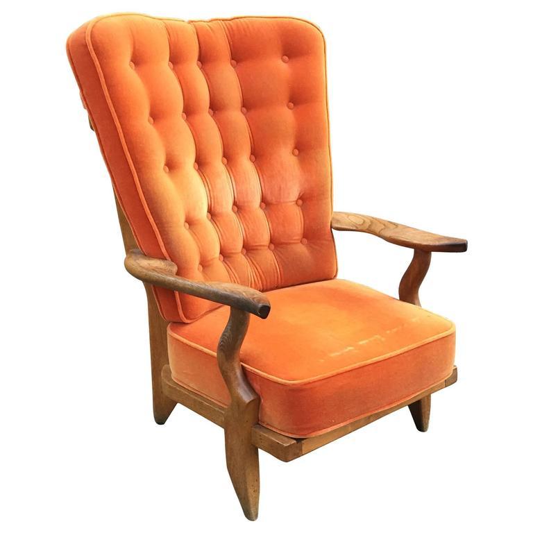 """Guillerme et Chambron, Solid Oak Armchair """"Grand Repos"""", Edition Votre Maison"""