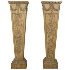 "Pair of Louis XVI Style ""Gaine"" Pedestal in Carved Pine"