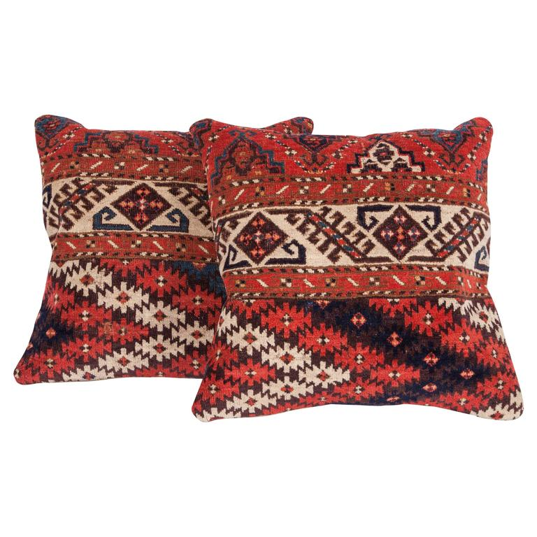 Pillows Made Out of a 19th Century Turkmen Chodor Tribe Main Rug Fragment For Sale