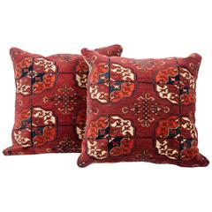 Antique Pillows Made Out of a 19th Century Turkmen Tekke Tribe Main Rug Fragment
