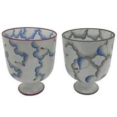 Giò Ponti Pair of Vases Art Deco for Richard Ginori, circa 1980