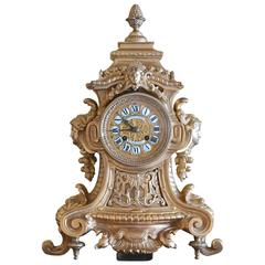 19th Century Belle Époque/ Napoleon III Bronze Dore Mantle Clock