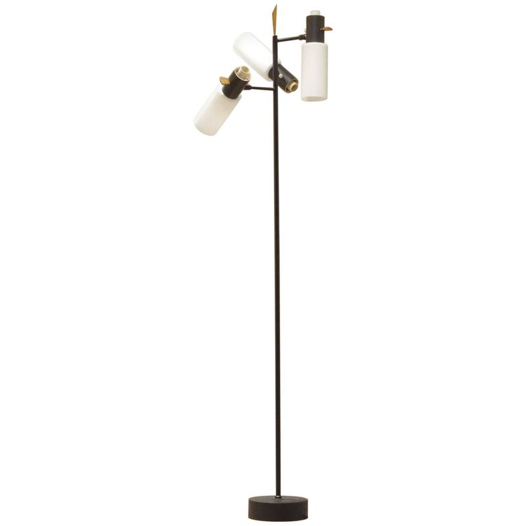 Mid-Century Boris Lacroix for Lunel Glass and Brass Floor Lamp