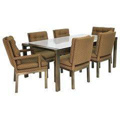 Mid-Century Bronze and Glass John Widdicomb Dining Table and Six Chairs