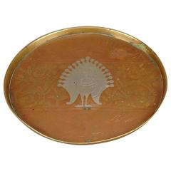 Copper, Pewter and Brass Peacock Plate by Dr C Dresser