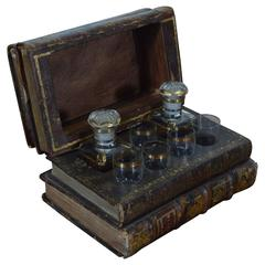 French Book-Form Concealed Decanter Set, Early 20th Century