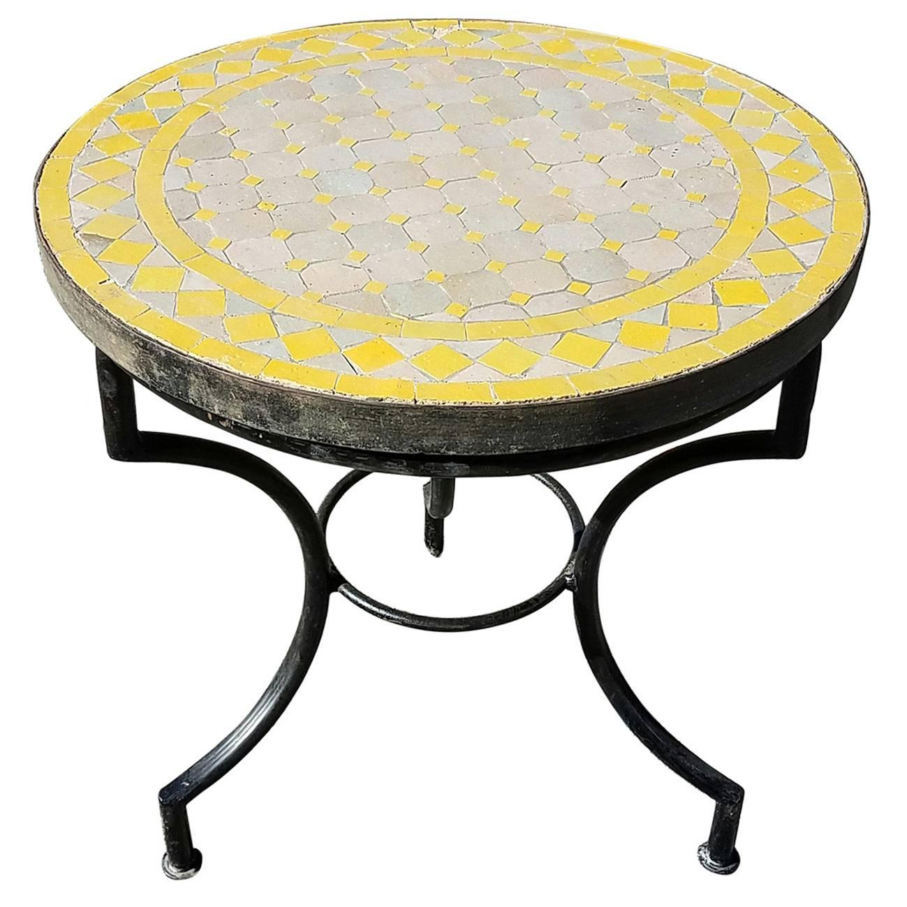 Yellow tan moroccan mosaic table wrought iron base for for Wrought iron side table base