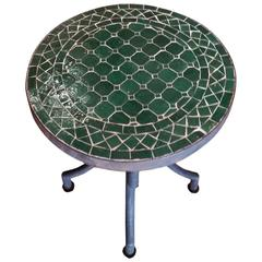 Moroccan Mosaic Table, Wrought Iron Base