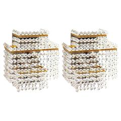 Pair of Large Lobmeyr Square Gold-Plated, Hand-Cut Crystal and Brass Sconces