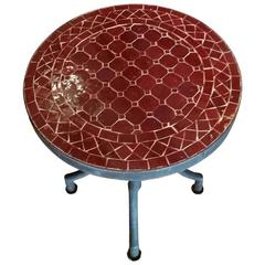 All Burgundy Mosaic Table, Wrought Iron Base
