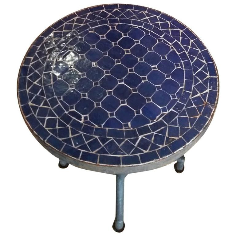 All Blue Mosaic Table, Wrought Iron Base