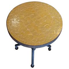 All Yellow Mosaic Table, Wrought Iron Base