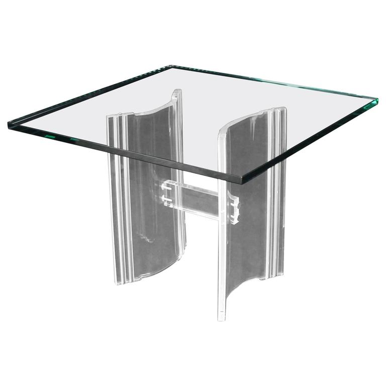 Lucite Base Sqaure Glass Top Occasional Side Table