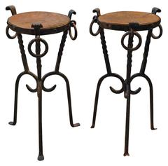 Pair of Diminutive Iron and Wood Cocktail Tables