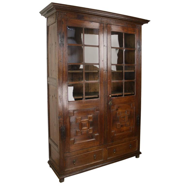 Antique Fruitwood And Oak Bookcase, Original Glass For