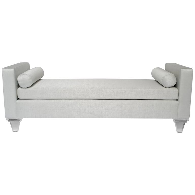 Mid Century Modern Style Upholstered Chaise Lounge Lucite Legs For Sale