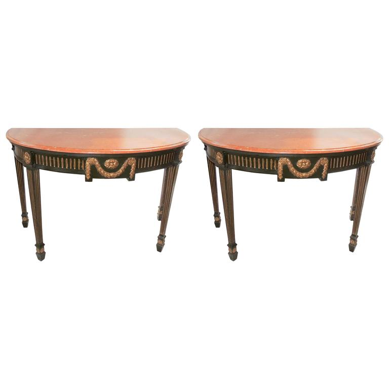 Wonderful French Pair Regency Marble-Top Green Gold Gilt Demilune Console Tables