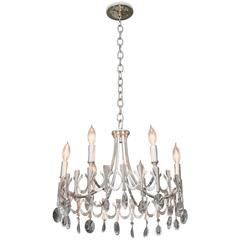 Silverplate Six-Light Chandelier Attributed to Sciolari