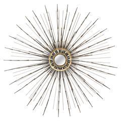 Vintage Brutalist Sunburst Mirror in the Manner of Curtis Jere