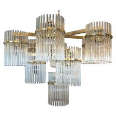 Vintage Brass and Glass Rod Pendant Light by Sciolari