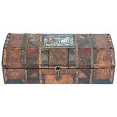 Leather Patchwork Document Box from Europe, circa 1880