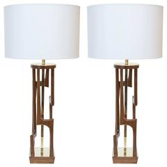Pair of Wood and Brass Table Lamps by Modeline of California