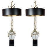 Pair of Bronze and Crystal Lamps in the Style of Maison Charles