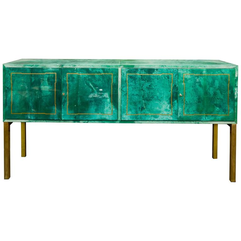 Rare Green Parchment Sideboard by Aldo Tura For Sale
