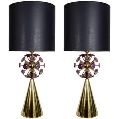 Pair of Lamps with Agates Stones by Juanluca Fontana