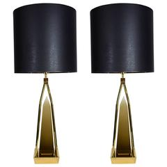 Pair of Smoked Glass Obelisk Lamps in the Style of Venini