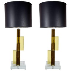 Pair of Murano Glass Lamps in the Style of Cenedese