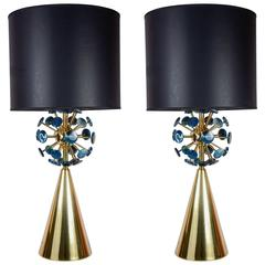 Fantastic Pair of Lamps with Agates by Juanluca Fontan