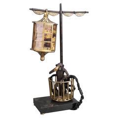 Figural Monkey Bronze Lamp